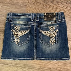 Miss Me Denim Mini Skirt - Pocket Embellishments